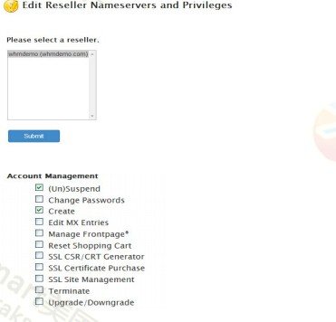 Edit Reseller Nameservers and Privileges