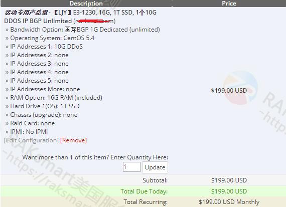 RAKsmart美国G口服务器低至199美元/月