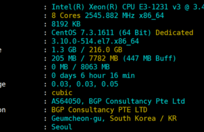 韩国服务器配置信息