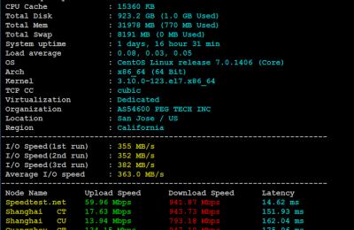 RAKsmart美国大带宽服务基本性能评测器